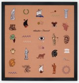 Elaine Reichek<br /> <i>Ariadne's Lament</i>, 2009<br /> Digital embroidery on linen<br /> 27 1/2 x 26 1/2 in. <br /> 69.9 x 67.3 cm