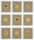Elaine Reichek<br /> <i>Swatches, Magritte 1-9</i>, 2007<br /> Digital embroidery on linen<br /> Each unit 12 x 10 inches (30.5 x 25.4 cm)<br /> Overall 41 x 35 inches (104.1 x 88.9 cm)