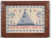 Elaine Reichek<br /> <i>Sampler (Home Sweet Home)</i>, 1992<br /> Hand embroidery on linen<br /> 12 x 15.25 in.<br /> 30.5 x 40 cm