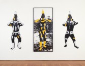 Elaine Reichek<br /> <i>Yellow Man</i>, 1986<br /> Knitted yarn and hand-painted gelatin silver print<br /> Overall 71 in. x 10 ft. 3 in.<br /> 180.3 x 292.1 cm