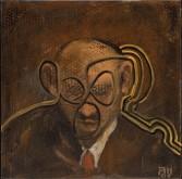 Anton Henning<br /> <i>Portrait No. 128</i>, 2006<br /> Oil on linen<br /> 23 3/4 x 23 4/5 inches<br /> 60.3 x 60.5 cm<br /> 44.65 x 38.23 x 10.43 inches<br /> 113.4 x 97.1 x 26.5 cm<br />