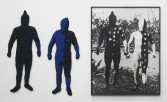 Elaine Reichek<br /> <i>Blue Men</i>, 1986<br /> Knitted wool yarn and oil on gelatin silver print in 3 parts<br /> 63 x 96 inches<br /> 160 x 243.8 cm