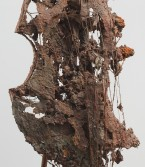 Kristen Morgin<br /> <i>Cello #1</i> (detail), 2001<br /> Unfired clay, wood and wire<br /> 62 x 21 x 28 inches<br /> 157.5 x 53.3 x 71.1 cm