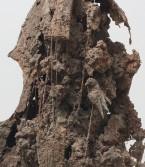 Kristen Morgin<br /> <i>Cello #3</i> (detail), 2001<br /> Unfired clay, wood, wire<br /> 62 x 21 x 28 inches<br /> 157.5 x 53.3 x 71.1 cm<br />