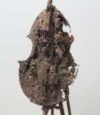 Kristen Morgin<br /> <i>Cello #3</i>, 2001<br /> Unfired clay, wood, wire<br /> 62 x 21 x 28 inches<br /> 157.5 x 53.3 x 71.1 cm<br />