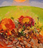 Dana Schutz<br /> <i>Flowers</i>, 2002<br /> oil on canvas<br /> 36 x 32 inches<br /> 91.4 x 81.3 cm