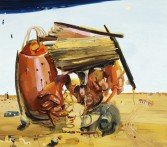 Dana Schutz<br /> <i>Night in Day</i>, 2002<br /> oil on canvas<br /> 32 x 36 inches<br /> 81.3 x 91.4 cm