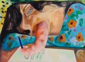 Dana Schutz<br /> <i>Note</i>, 2010<br /> Oil on canvas<br /> 21 x 32 1/4 inches<br /> 53.3 x 81.9 cm