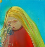 Dana Schutz<br /> <i>Sneeze</i>, 2001<br /> oil on canvas<br /> 19 x 19 inches<br /> 48.3 x 48.3 cm