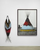 Elaine Reichek<br /> <i>Painted Blackfoot</i>, 1990<br /> Knitted wool yarn and oil on gelatin silver print in 2 parts<br /> 80 x 75 inches<br /> 203.2 x 190.5 cm