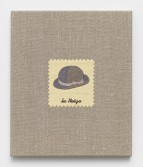 Elaine Reichek<br /> <i>Swatch, Magritte</i>, 2006<br /> Digital embroidery on linen<br /> 12 x 10 inches<br /> 30.5 x 25.4 cm
