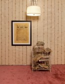 Justin Lieberman<br /> <i>Newspaper Accumulation 1935-2008 with Chicago Daily Tribune Placeholder</i>, 2009<br /> Mixed media<br /> Collection: 37 x 24 x 21 inches  94 x 61 x 53.3 cm<br /> Placeholder: 36 x 28.5 inches  91.4 x 72.4 cm