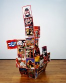 Johannes VanDerBeek<br /> <i>Cornered Page</i>, 2005<br /> Time magazines and glue<br /> 66 x 47 x .5 inches<br /> 167.6 x 119.4 x 1.3 cm