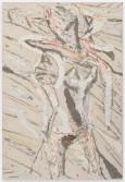 Johannes VanDerBeek<br /> <i>First Features</i>, 2014<br /> Aqua-Resin, fiberglass, steel, clay, paint, oil stick<br /> 65 x 45 inches<br /> 165.1 x 114.3 cm