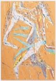 Johannes VanDerBeek<br /> <i>Orange Crawl</i>, 2014<br /> Aqua-Resin, fiberglass, steel, clay, paint, oil stick<br /> 65 x 45 inches<br /> 165.1 x 114.3 cm