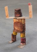Kristen Morgin<br /> <i>Can Monster</i>, 2014<br /> Unfired clay, wood, paint<br /> 24 1/2 x 10 x 9 in<br /> 62.2 x 25.4 x 22.9 cm