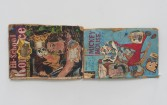 Kristen Morgin<br /> <i>Comic Books High School Romance</i>, 2013<br /> Unfired clay, wire, pushpin, paint, ink, crayon, graphite<br /> 8.5 x 20.5 x 1 inches<br /> 21.6 x 52.1 x 2.5 cm