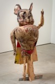 Kristen Morgin<br /> <i>Mighty Mouse</i>, 2006<br /> Unfired clay, wood, wire and paint<br /> 43 x 16 x 16 inches