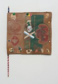 Kristen Morgin<br /> <i>Picasso and Crossbones Flag</i>, 2014<br /> Unfired clay, paint, marker, graphite, ink, roofing tacks, nails<br /> 20.5 x 13 x 0.5 inches<br /> 52.1 x 33 x 1.3 cm