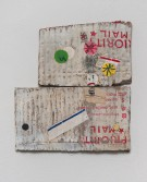 Kristen Morgin<br /> <i>(Charlie Brown's Great Grief)</i>, 2013<br /> Unfired clay, paint, ink, graphite, marker, roofing tacks<br /> 7.5 x 6.5 x 0.25 inches<br /> 19.1 x 16.5 x 0.6 cm