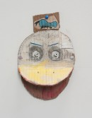 Kristen Morgin<br /> <i>Duck Mask</i>, 2013<br /> Unfired clay, paint, ink, graphite<br /> 9.75 x 6.25 x 2.75 inches<br /> 24.8 x 15.9 x 7 cm