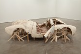 Kristen Morgin<br /> <i>Wrecked Spyder</i>, 2010<br /> Wood, wire, unfired clay<br /> Approximately: 82 x 46 x 41 inches<br /> 208.3 x 116.8 x 104.1 cm