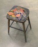 Kianja Strobert<br /> <i>Untitled</i>, 2011<br /> Wood chair, pottery shards and neon plastic tubing<br /> Dimensions variable<br />