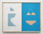 Elaine Reichek<br /> <i>Laura's Bikini</i>, 1979<br /> Colored pencil on graph paper, knitted cotton yarn mounted to paper<br /> 46.5 x 58.75 inches<br /> 118.1 x 149.2 cm
