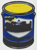 Mark Flood<br /> <i>Blue Paint Can Mute</i>, 2014<br /> Spray paint on metal sign<br /> 36 x 26 in<br /> 91.4 x 66 cm