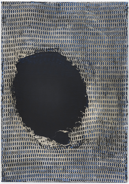 Mark Flood<br /> <i>Building with Hole</i>, 2012<br /> Acrylic on canvas<br /> 40 x 28 inches<br /> 101.6 x 71.1 cm