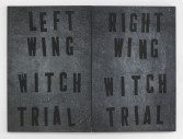 Mark Flood<br /> <i>LEFT WING / RIGHT WING WITCH TRIAL</i>, 2014<br /> Acrylic on canvas<br /> 60 x 80 inches<br /> 152.4 x 203.2 cm<br /> <br /> Entryway