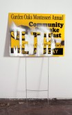 Mark Flood<br /> <i>METH / COMMUNITY BREAKFAST</i>, 2009<br /> Spray paint on coroplas sign with metal support<br /> 41 x 24 inches<br /> 104.1 x 61 cm<br />