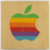Mark Flood<br /> <i>Mac Apple</i>, 2014<br /> Oil and acrylic on burlap<br /> 36 x 36 inches<br /> 91.4 x 91.4 cm