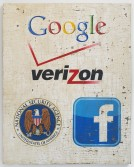 Mark Flood<br /> <i>NSA [Google, Verizon, NSA, Facebook]</i>, 2014<br /> Oil, acrylic and plaster on burlap stretched<br /> over wood panel<br /> 60 x 48 inches<br /> 152.4 x 121.9 cm
