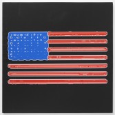 Mark Flood<br /> <i>Night Train Flag</i>, 2014<br /> Inkjet print on canvas<br /> 48 x 48 inches<br /> 121.9 x 121.9 cm<br /> <br /> Booth 2.2