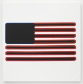 Mark Flood<br /> <i>No Regrets Flag</i>, 2014<br /> Inkjet print on canvas<br /> 48 x 48 in<br /> 121.9 x 121.9 cm