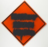 Mark Flood<br /> <i>Orange Diamond Mute</i>, 2014<br /> Spray paint on printed coroplast <br /> 68 x 68 inches<br /> 172.7 x 172.7 cm<br /> <br /> Entryway