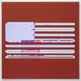 Mark Flood<br /> <i>Seeping Red Flag</i>, 2014<br /> Inkjet print on canvas<br /> 48 x 48 in<br /> 121.9 x 121.9 cm