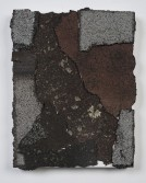 Marianne Vitale<br /> <i>Shingle Painting 2</i>, 2014<br /> Tar shingles, liquid nails on canvas<br /> 14 x 11 in<br /> 35.6 x 27.9 cm