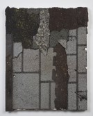 Marianne Vitale<br /> <i>Shingle Painting 2</i>, 2014<br /> Tar shingles, liquid nails on canvas<br /> 30 x 24 in<br /> 76.2 x 61 cm