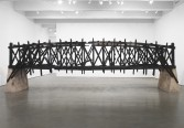 Marianne Vitale<br /> <i>Burned Bridge</i>, 2012<br /> Reclaimed lumber<br /> 93 x 292 1/2 x 59 inches<br /> 236.2 x 743 x 149.9 cm