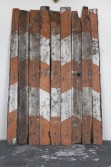 Marianne Vitale<br /> <i>Caution</i>, 2011<br /> Reclaimed lumber<br /> 144 x 99 x 2 inches<br /> 365.8 x 251.5 x 5.1 cm