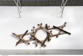 Marianne Vitale<br /> <i>Saturn</i>, 2013<br /> Reclaimed lumber<br /> 131.89 x 289.37 x 7.87 inches<br /> 335 x 735 x 20 cm