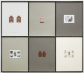 Elaine Reichek<br /> <i>My House</i>, 1980<br /> Knitted wool yarn, colored pencil on graph paper, brick and gelatin silver prints<br /> 72 x 82 inches<br /> 182.9 x 208.3 cm