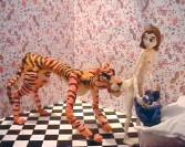 Nathalie Djurberg<br /> <i>Tiger Licking Girl's Butt</i>, 2004<br /> Clay animation, digital video<br /> 2:15<br /> Edition of 6<br /> Music by Hans Berg<br />