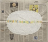 Phoebe Washburn<br /> <i>Cut Down Like Grass</i>, 2012<br /> Mixed media on newspaper<br /> 21 3/4 x 24 inches<br /> 55.2 x 61 cm
