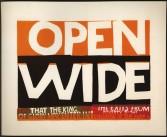 Sister Corita<br /> <i>wide open</i>, 1964<br /> Serigraph<br /> 29.5 x 36 inches<br /> 74.9 x 91.4 cm<br /> Signed in pencil