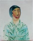 Dana Schutz<br /> <i>Claire</i>, 2001<br /> Oil on canvas<br /> 18 x 15 inches<br /> 45.7 x 38.1 cm