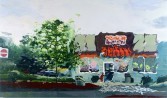Tom McGrath<br /> <i>Untitled (Dunkin' Donuts)</i>, 2003<br /> Oil on panel<br /> 56 x 96 inches<br /> 142.2 x 243.8 cm