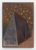 Zach Harris<br /> Tent's Dream, 2014-15<br /> Water-based paint, spray paint, archival ink, linen, and wood<br /> 61 x 43 inches<br /> 154.9 x 109.2 cm